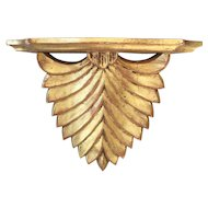Vintage Italian Art Deco Style Palm Gilt Wall Shelf
