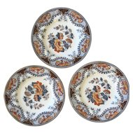 Set Antique English Pinder and Bourne Alma Polychrome Plates