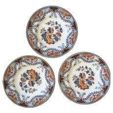Set Antique English Pinder and Bourne Alma Polychrome Plates