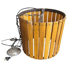 Vintage Schoolhouse Ruler Drum Shade Light Fixture