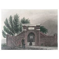 19th Century TOMB of WASHINGTON Hand Colored Engraving