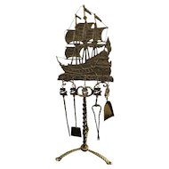 Brass Spanish Galleon Ship Fireplace Tools