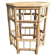Vintage Palm Beach Style Bamboo Hexagon Side Table
