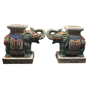 Vintage Pair of Chinoiserie Asian Ceramic Elephant Garden Stool Bookends
