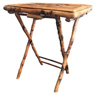 Vintage Burnt Bamboo Folding Tray Table