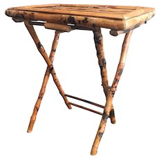 Vintage Burnt Bamboo Folding Tray Table