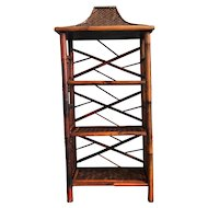 Vintage Asian Bamboo and Rattan Pagoda Shelf