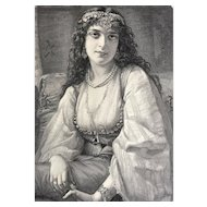 19th Century Engraving of Lovely Young Gypsy Girl ~ THE SYREN