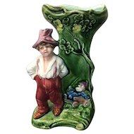 Vintage Majolica Figural Spill Vase with Boy