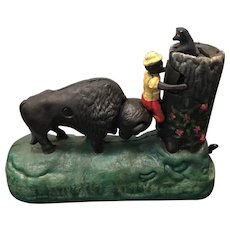 Vintage Book of Knowledge Butting Buffalo Reproduction Cast Iron Mechanical Bank