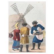 1833 Pinkerton's Russia Costume Print ~ The Izbitentschik, Carpenter and Milkmaid