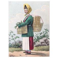1833 Pinkerton's Russia Costume Print ~ The Mushroom Gatherer