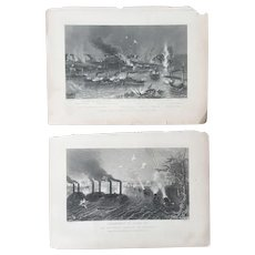 Pair of 19th Century Civil War Battle Steel Engravings