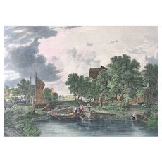 19th Century English Hand Colored Engraving - SHIPMEADOW LOCK