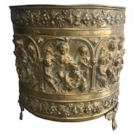 19th Century French Brass Repousse Jardiniere Planter with Cherubs