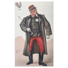 Original 1884 Vanity Fair French Royalty Print ~  Duc D'Aumale - The Orleans Family