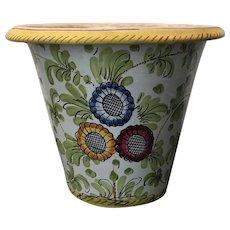 Vintage Italian Faience Hand Painted Terra Cotta Cachepot / Planter