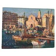 J. Columbini Mid-Century Oil Painting of Boats in Venice Harbor