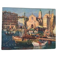 J. Columbini Mid-Century Oil Painting of Boats in Venice Harbor
