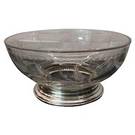 Large Vintage Cut Glass / Crystal Bowl with Sterling Base