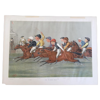 1888 Vanity Fair Double Page Jockey / Horse Racing Print ~ THE WINNING POST