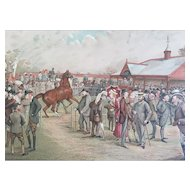 1887 Vanity Fair Double Page Turf Horse Racing Print ~  NEWMARKET / TATTERSALL'S