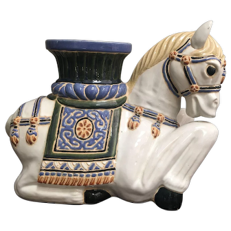 Vintage Hollywood Regency Style Horse Ceramic Garden Seat