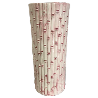 Vintage Pink & White Bamboo Ceramic Umbrella Stand