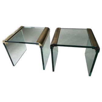 Pair of 1970's Brass and Glass Waterfall Cocktail Tables by Leon Rosen for the Pace Collection