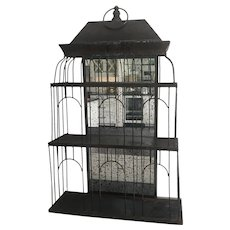 Vintage Metal Bird House Mirrored Wall Shelf