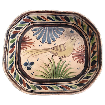 1940's Folk Art Mexican Tlaquepaque Pottery Bird Dish