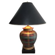 Vintage FREDERICK COOPER Plaid / Striped Ginger Jar Lamp