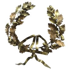 Vintage Petite Choses Oak Leaf and Acorn Brass Wreath