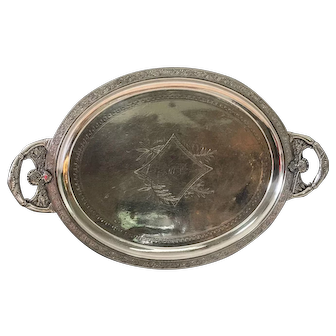 Antique American Aesthetic Movement Silver Plate Tray by Meriden