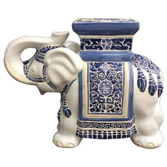 Vintage Blue and White Chinese Style Elephant Garden Seat / Stool