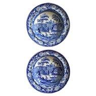 19th Century Blue & White Staffordshire Transferware Wild Rose Soup Plates