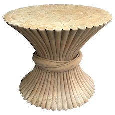 Mid-Century MCGUIRE Style Bamboo Wheat Sheaf Drinks Table Active