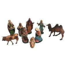 Vintage Papier Mache / Composition Nativity Creche Figures