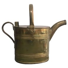 Antique English Brass Hot Water Watering Can ~ William Soutter & Sons