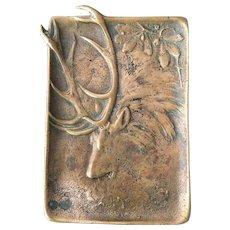 Antique Berndorf Style Bronze Elk Pin Tray Dish