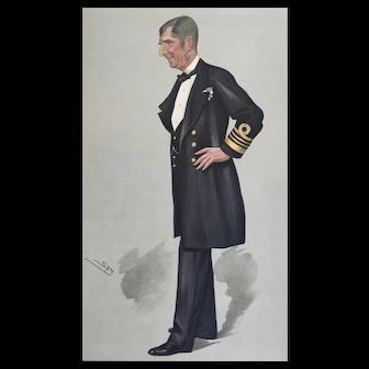 1889 Vanity Fair Lithograph Print ~ Admiral Sir John Commerell