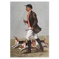 Original 1902 Vanity Fair Fox Hunting Print of J. Otho Paget With Beagles