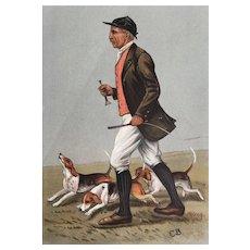 Original 1902 Vanity Fair Fox Hunting Print of J. Otho Paget With Beagles