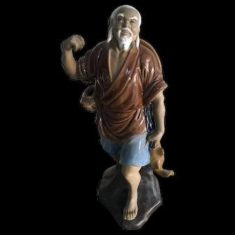 Large Vintage Chinese Mud Man Fisherman Figure