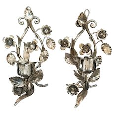 Pair of Mid-Century Hollywood Regency Style Silver Gilt Tole Floral Sconces