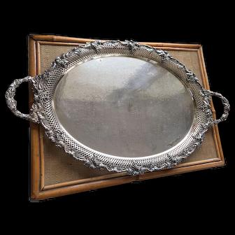 Large Antique Ellis- Barker Reticulated Grape Vine Silver Plate Tray