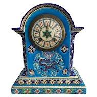 19th Century French  Chinoiserie LONGWY / GIEN  Enamel Ceramic Clock