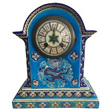 19th Century French  Chinoiserie LONGWY / GIEN  Enamel Ceramic Clock