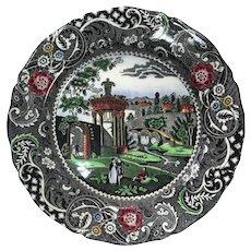 Antique English Polychrome Transferware Plate