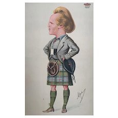1870 Original Vanity Fair Scotsman in Kilt Print ~ Marquis of Lorne